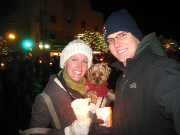 Thoroughly enjoying our time, but Sadie was a little cold even with her festive sweater on.