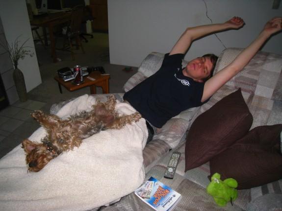 Okay, so Ryan wasn't REALLY sleeping like this, but Sadie was.