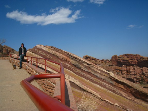 Going up the stairs to Red Rocks.