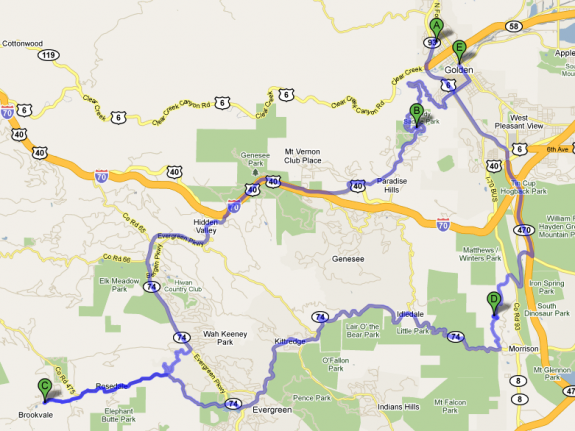 Our driving tour through Golden, Evergreen and Morrison.